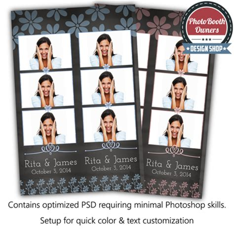 photo booth psd template chalkboard whimsy 3 up strips photo booth templates