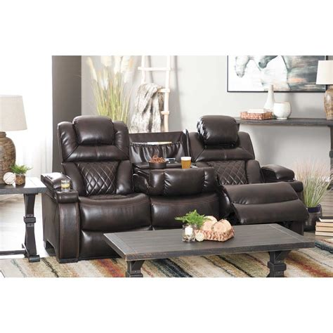 Furniture Loveseat Recliners by Warnerton Power Reclining Console Loveseat With Adjustable