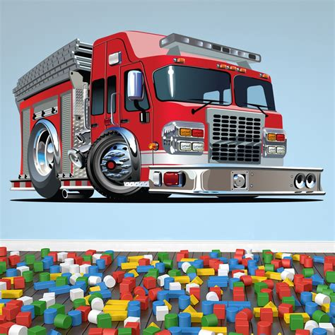 fire engine kids colour wall sticker transport art decals