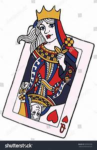 Alive Playing Card Of The Queen Of Hearts - Vector Hand ...