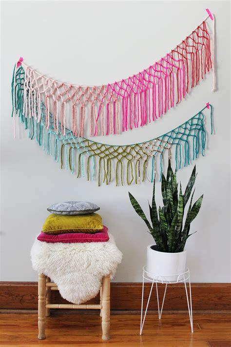 macrame yarn garland diy  beautiful mess