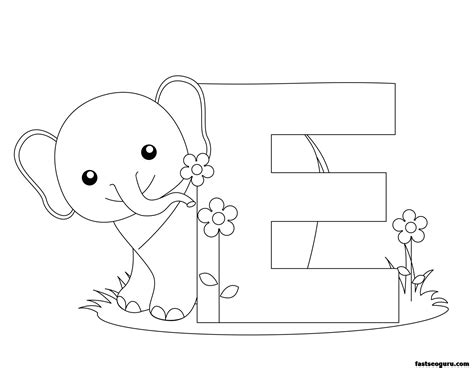 printable animal alphabet letter   elephant printable coloring pages  kids