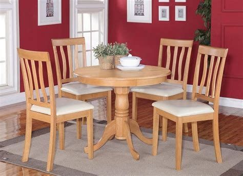 oak kitchen table 5pc dinette kitchen dining set table with 4 faux leather