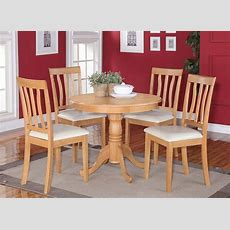 5pc Dinette Kitchen Dining Set Table With 4 Faux Leather