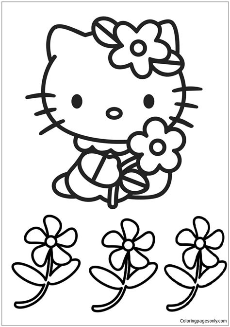 Hello Kitty Cute And Flowers Coloring Page Free Coloring