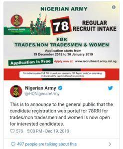 nigerian army recruitment form closing date nigerian army recruitment form portal 2019 2020 78rri
