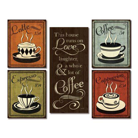 Bright coffee machines and unique decorating ideas suggest beautiful color schemes for modern kitchen decor. Gango Home Decor Classic Retro Coffee, Espresso, Cappuccino, Latte and This House Runs On Coffee ...