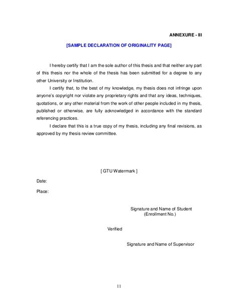 Statement Of Authenticity Thesis by Dissertation Statement Of Originality Dissertation