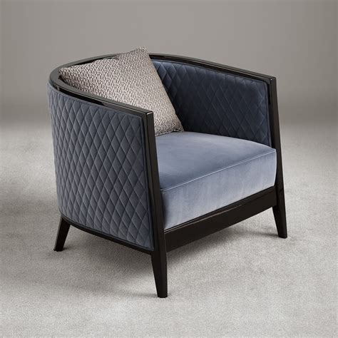 Tub Chair by High End Italian Designer Quilted Velvet Tub Chair
