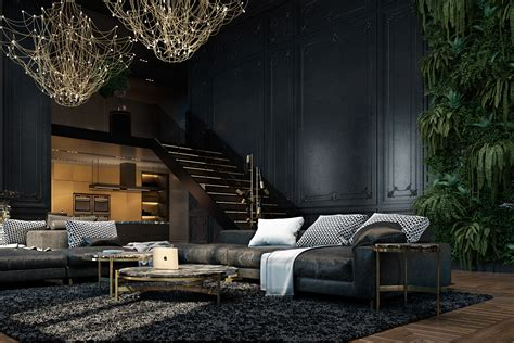 3 Living Spaces With And Decadent Black Interiors 3 living spaces with and decadent black interiors