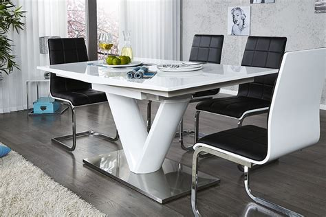 chambre opale table a manger blanc laque