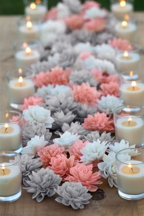 Coral And Grey Mixed Wooden Flowers Wedding Decorations