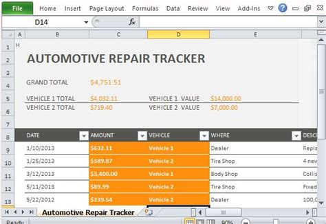 car repair tracker template  excel