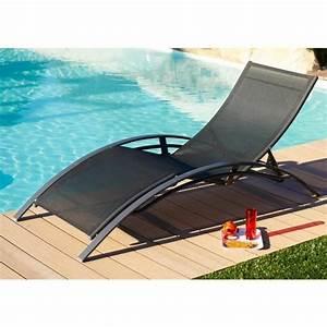 Chaise Longue Aluminium : lot de 2 chaises longues aluminium textil ne noir achat ~ Teatrodelosmanantiales.com Idées de Décoration