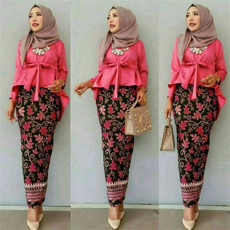 jual gl st rolinda baju setetelan wanita cewe muslim hijab  kebaya batik blouse rok pesta