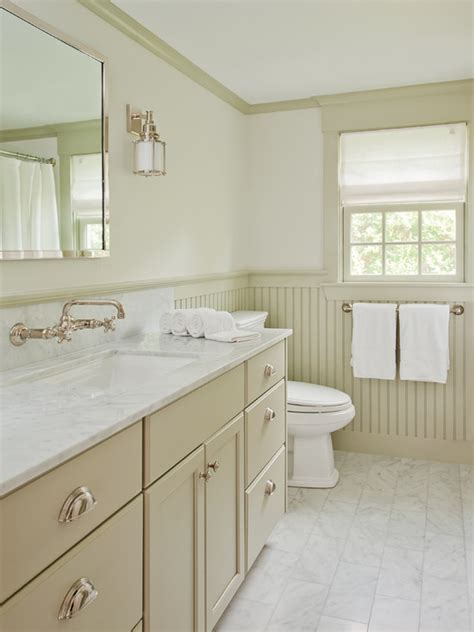 , Exciting Modern Bathroom Design With Cream Beadboard In