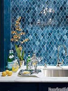 Blue quatrefoil moroccan tile backsplash for the home for Blue moroccan tile backsplash