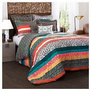 7pc, Full, Queen, Boho, Stripe, Comforter, Set, Turquoise