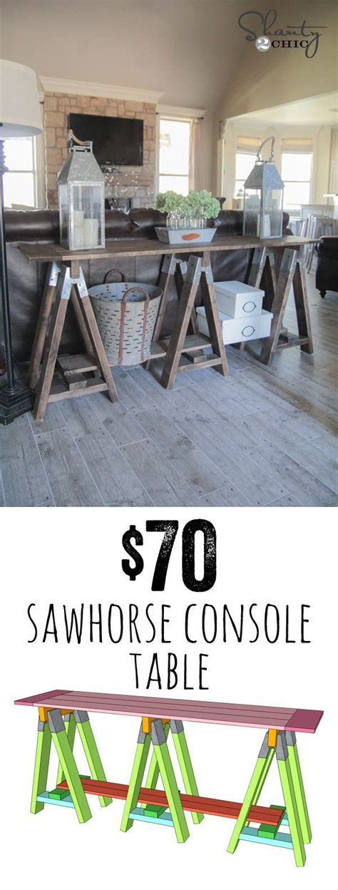diy sawhorse console table  horse diy cheap home