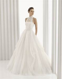 romantic full a line rosa clara bridal gown with high neck With high neck lace wedding dress