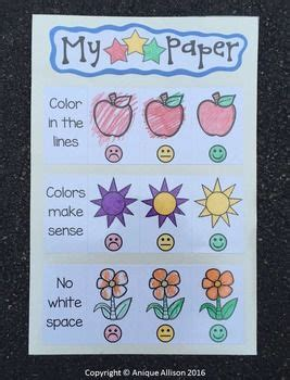 star coloring rubric anchor charts kindergarten