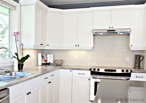 ideas for tile backsplash in kitchen maple cabinets painted cloud white gray paint colour