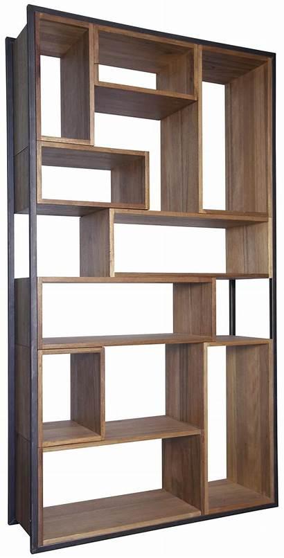 Wood Metal Bookcase Modern Storage Rustic Idea