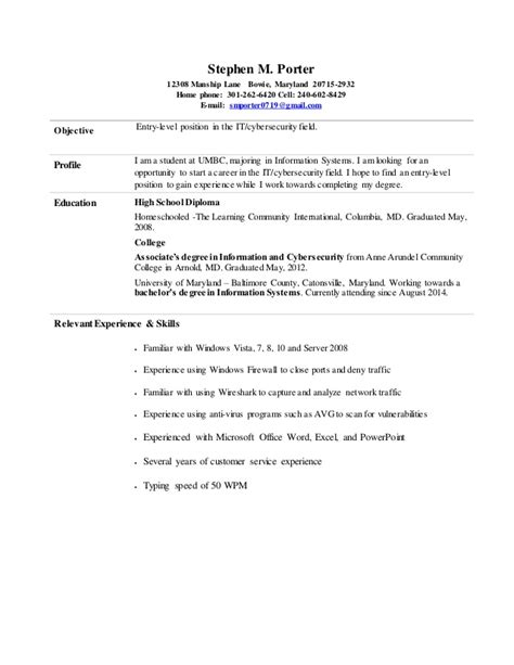 It Security Entry Level Resume by Stephen Porter Entry Level Information Cyber Security Resume