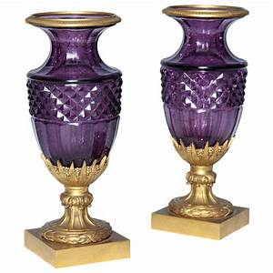 A, Fine, Pair, Of, Antique, Russian, Amethyst, Cut, Crystal, Vases, In, Dore, Bronze, Mounts, At, 1stdibs