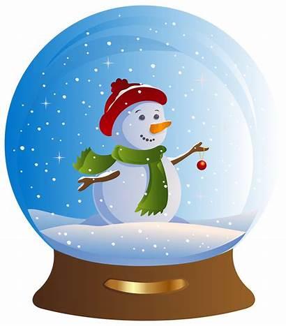 Clipart Snowman Scene Snow Winter Transparent Globe