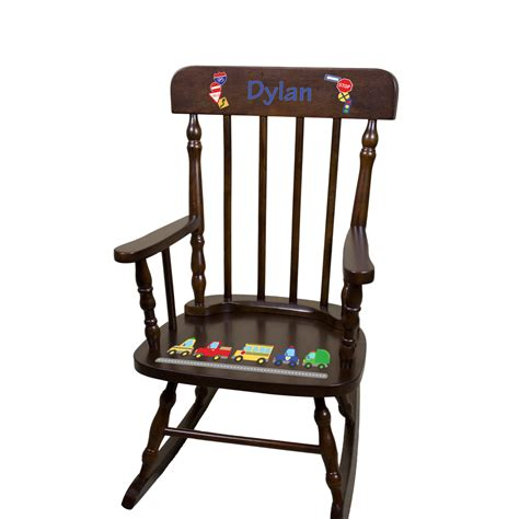 personalized childs rocking chair boys espresso by