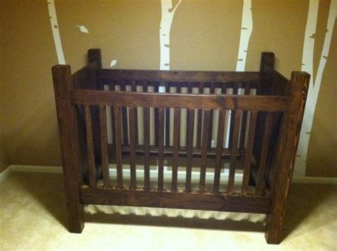 handmade rustic style solid wood crib dark stain  etsy