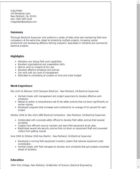 Electrical Supervisor Curriculum Vitae by Professional Electrical Supervisor Templates To Showcase Your Talent Myperfectresume
