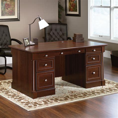 sauder palladia writing desk cherry sauder palladia home office executive desk cherry finish
