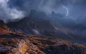 Nature, Landscape, Mountain, Storm, Dolomites, Mountains