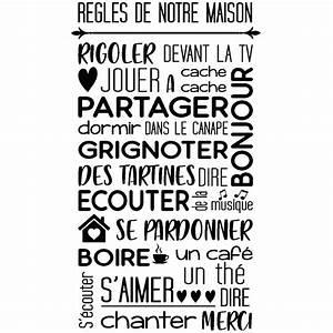 Regle De La Maison A Imprimer : sticker citation r gles de notre maison stickers ~ Dode.kayakingforconservation.com Idées de Décoration