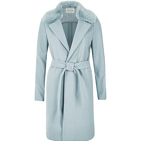 light blue faux fur coat light blue faux fur collar robe coat coats coats