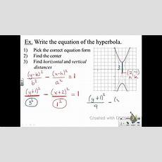 Algebra 2 Hyperbolas  Writing Equations From Graphs Youtube