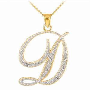 14k gold letter script quotdquot diamond initial pendant necklace With diamond initial letter necklace