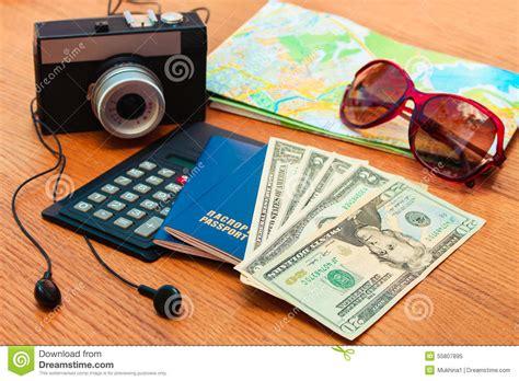 Travel Set Passport Money Blank Notebook Camera Road Map
