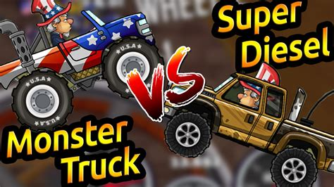 hill climb racing monster truck hill climb racing 2 monster truck vs super diesel gameplay