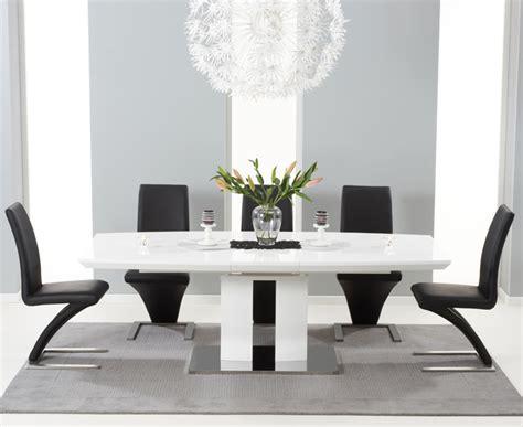 ezra white high gloss twin column  piece extending dining