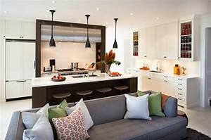 idee cuisine ouverte sur salon petit espace cuisine en image With idee de deco salon salle a manger pour petite cuisine Équipée