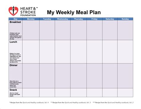 blank meal planner sheet printable  day