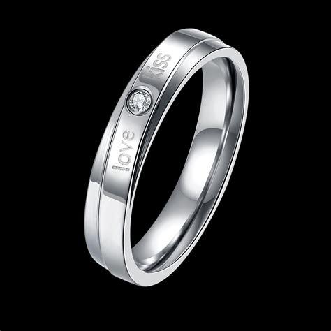 lover zircon ring silver stainless steel finger