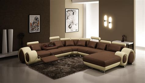canapé cuir usé 4084 contemporary brown and beige leather sectional sofa