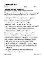 pagtukoy ng aspekto ng pandiwa 3 pagsasanay sa filipino