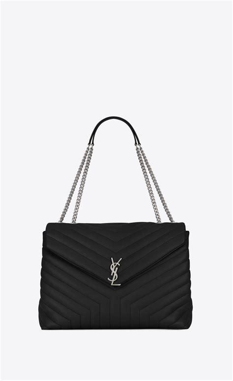 saint laurent large loulou chain bag  black  matelasse leather yslcom
