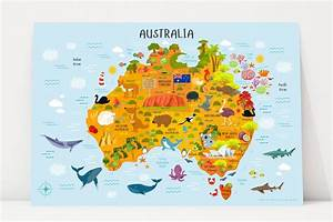 Map of Australia, Australia for Kids Poster - Playroom