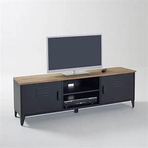Meuble Salon Noir : meuble tv hiba noir la redoute interieurs la redoute ~ Teatrodelosmanantiales.com Idées de Décoration